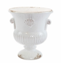 Vietri Rustic Garden White Trumpet Footed Planter