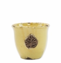 Vietri Rustic Garden Yellow Small Cachepot with Leaf