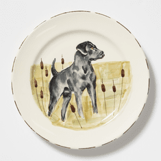 Vietri Wildlife Black Hunting Dog Dinner Plate