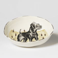 Vietri Wildlife Black Hunting Dog Pasta Bowl