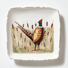 Vietri Wildlife Pheasant Small Square Platter