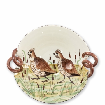 Vietri Wildlife Quail Scallop Handled Bowl