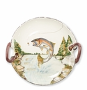 Vietri Wildlife Rainbow Trout Handled Round Platter