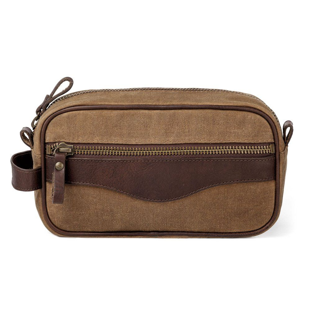 White Wing Waxed Canvas Leather Shaving Kit Bag