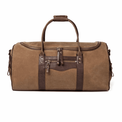 White Wing Large Waxed Canvas & Leather Duffel Bag