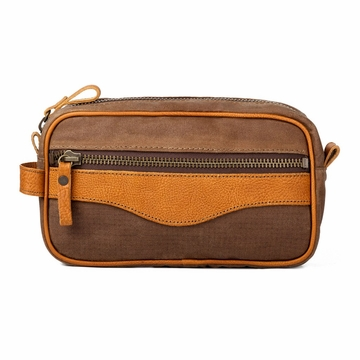 White Wing Waxed Canvas & Leather Shaving Kit Bag