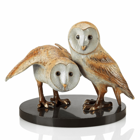 Wise Pair Barn Owls Sculpture by SPI Home