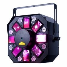 AMERICAN DJ STINGER II New dynamic effect with multiple FX in 1. Now with 3 watt UV LED's for more flexibility for wash and Uv strobe effect