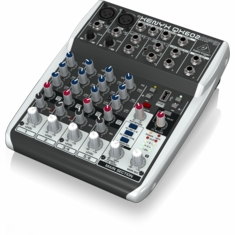 BEHRINGER QX602MP3 Premium 6-Input 2-Bus Mixer with XENYX Mic Preamps, British EQs, MP3 Player and Multi-FX