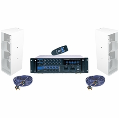 VOCOPRO ASP-3758-W (White color) Digital Receiver Mixing Amplifier with Speakers package