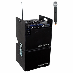 VOCOPRO MOBILEMAN 1 (HEAD UNIT) Battery Powered P.A. System with Subwoofer/includes one wireless mic and module and one SD recorder Module