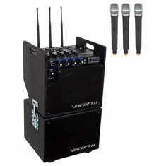 VOCOPRO MOBILEMAN 2 (HEAD UNIT) Battery Powered P.A. System with Subwoofer/includes three wireless mics and modules and one SD recorder Module