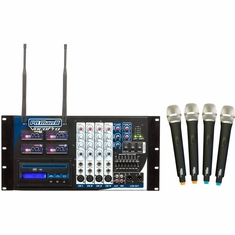 VOCOPRO PA-MANII-4 Four Channel Wireless All-In-One P.A. System/ FREQ. Q,R,S,T
