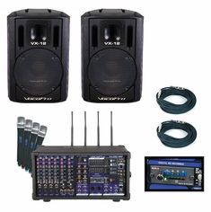 VOCOPRO PA-PRO TRIO Professional P.A. Mixer Package (Includes SDR-3 SD card recoder and 4 UHF mics/mod, 2 VX-12, and 2 PTP cables