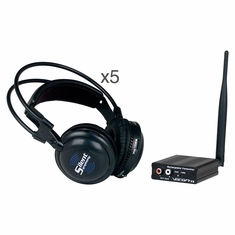 VOCOPRO SilentSymphony-Band Wireless Audio Broadcast and headphone system with One Transmitter and Five Headphones