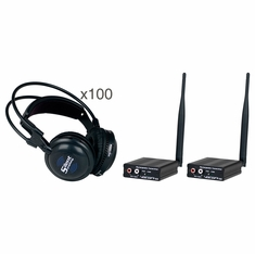 VOCOPRO SilentSymphony-Disco Wireless Audio Broadcast and Headphone system with two transmitters & 100 wireless headphones