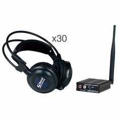 VOCOPRO SilentSymphony-Seminar Wireless Audio Broadcast and headphone system with One Transmitter and 30 Wireless headphones