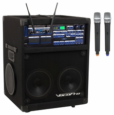 VOCOPRO TWISTER-7000-UHF Professional Variable Speed Digital Key Control CD/CD+G System with Dual UHF Wireless Microphones