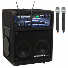 VOCOPRO TWISTER-7000-Ultra Professional Variable Speed Digital Key Control CD/CD+G System with SD Recorder, Dual UHF Wireless Microphones and Bluetooth Receiver