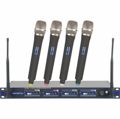VOCOPRO UHF-5800-4 (Set 4)Q,R,S,T Professional 4 Channel UHF Wireless Microphone System