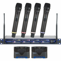 VOCOPRO UHF-5805-4 (Set 4)Q,R,S,T Professional Rechargeable 4 Channel UHF Wireless Microphone System
