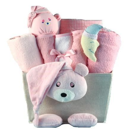 Bear Plush Baby Girl Gift Basket