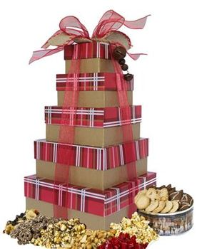 Classic Red Plaid 5 Tier Gift Tower
