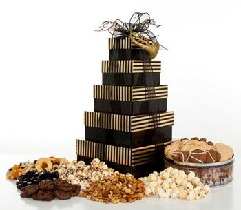 Elegant Stripes 5 Tier Holiday Gift Tower