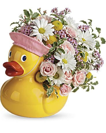 Lucky Ducky Floral Bouquet in Pink or Blue