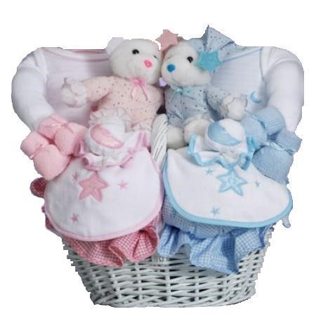 Moon & Stars Baby Gift Basket for Twins