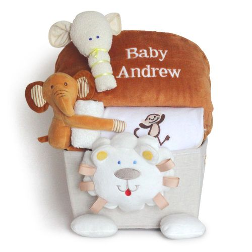 Plush Lion Personalized Baby Gift Basket Filled with Layette