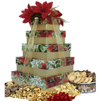 Poinsettia in Bloom Holiday Gift Tower