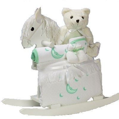 Rocking Horse & Layette Baby Gift (Pink, Blue or Neutral)