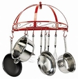 Classicor Semi-Circle Wall Mount Pot Rack - Wrought Iron Red Enamel