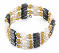 "36"" Magnetic Hematine Orange Beads Pearl Wrap Bracelet/Necklace"