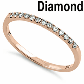 Solid 14K Rose Gold Classic 0.15 ct. Diamond Band