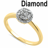 Solid 14K Two Tone Yellow & White Gold Cluster Halo 0.20 ct. Diamond Ring