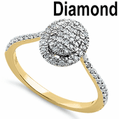 Solid 14K Two Tone Yellow & White Gold Cluster Halo 0.30 ct. Diamond Ring