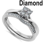 Solid 14k White Gold Cluster 0.35 ct. Diamond Engagement Ring Set