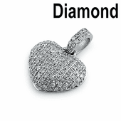 Solid 14K White Gold  0.25 ct. Diamond Pave Heart Pendant