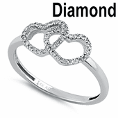 Solid 14K White Gold Double Heart  0.10 ct. Diamond Ring