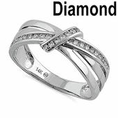 Solid 14K White Gold Fancy Twisted Knot 0.25 ct. Diamond Ring