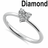 Solid 14K White Gold Heart Cluster 0.15 ct. Diamond Ring