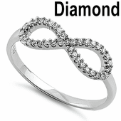 Solid 14K White Gold Infinity 0.20 ct. Diamond Ring