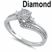 Solid 14K White Gold  0.25 ct. Diamond Luna Cluster Engagement Ring