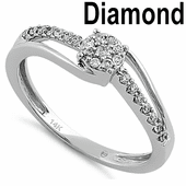 Solid 14K White Gold Simple Cluster 0.20 ct. Diamond Ring