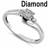 Solid 14K White Gold Simple Halo 0.20 ct. Diamond Ring