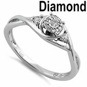 Solid 14K White Gold Simple Halo Twist 0.20 ct. Diamond Ring