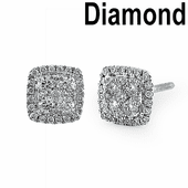 Solid 14K White Gold Square Shaped Cluster 0.65 ct. Diamond Earrings