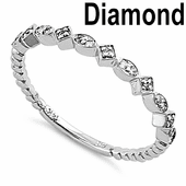 Solid 14K White Gold Stackable 0.15 ct. Diamond Beaded Band